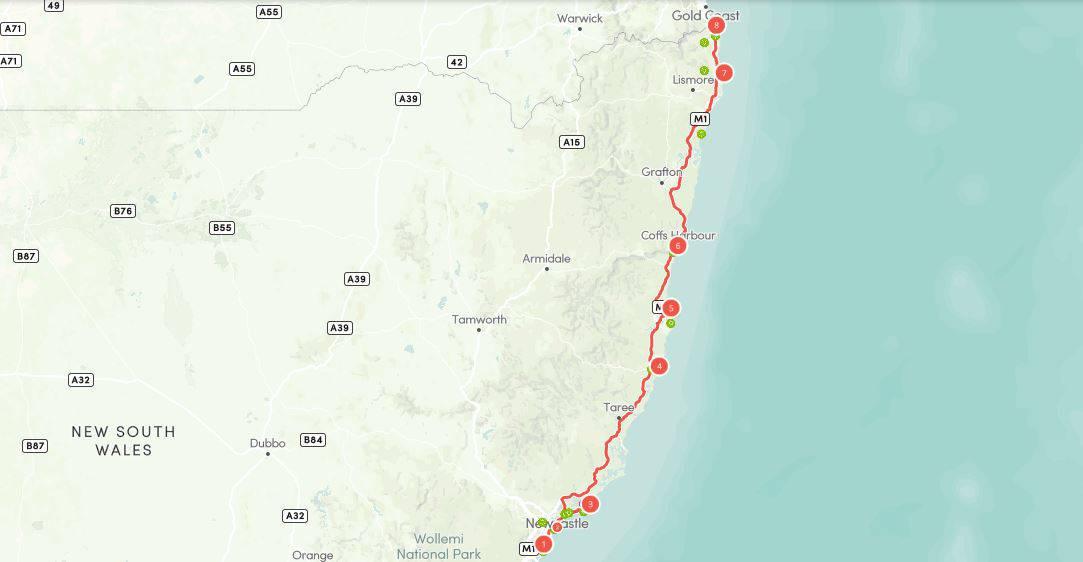 The Legendary Pacific Coast Drive Map   Love Caravan Camping NSW