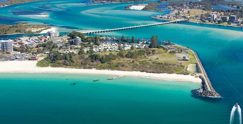 Aerial photo of Forster Main Beach